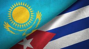 Tissu de textile de drapeaux de Kazakhstan et du Cuba deux, texture de tissu illustration de vecteur
