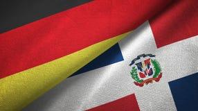 Tissu de textile de drapeaux de l'Allemagne et de la République Dominicaine deux, texture de tissu illustration stock