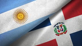 Tissu de textile de drapeaux de l'Argentine et de la République Dominicaine deux, texture de tissu illustration de vecteur
