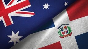 Tissu de textile de drapeaux de l'Australie et de la République Dominicaine deux, texture de tissu illustration libre de droits
