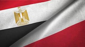 Tissu de textile de drapeaux de l'Egypte et de la Pologne deux, texture de tissu illustration de vecteur