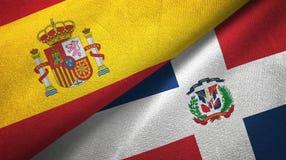 Tissu de textile de drapeaux de l'Espagne et de la République Dominicaine deux, texture de tissu illustration de vecteur