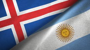 Tissu de textile de drapeaux de l'Islande et de l'Argentine deux, texture de tissu illustration libre de droits
