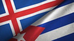 Tissu de textile de drapeaux de l'Islande et du Cuba deux, texture de tissu illustration libre de droits