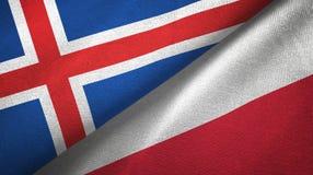 Tissu de textile de drapeaux de l'Islande et de la Pologne deux, texture de tissu illustration stock