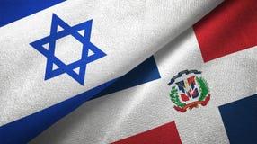 Tissu de textile de drapeaux de l'Israël et de la République Dominicaine deux, texture de tissu illustration libre de droits