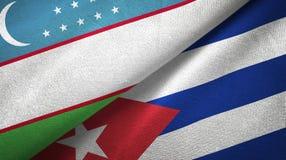 Tissu de textile de drapeaux de l'Ouzbékistan et du Cuba deux, texture de tissu illustration de vecteur