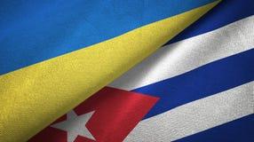 Tissu de textile de drapeaux de l'Ukraine et du Cuba deux, texture de tissu illustration libre de droits