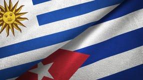 Tissu de textile de drapeaux de l'Uruguay et du Cuba deux, texture de tissu illustration stock