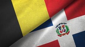 Tissu de textile de drapeaux de la Belgique et de la République Dominicaine deux, texture de tissu illustration de vecteur