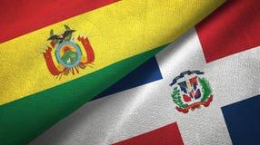 Tissu de textile de drapeaux de la Bolivie et de la République Dominicaine deux, texture de tissu illustration de vecteur