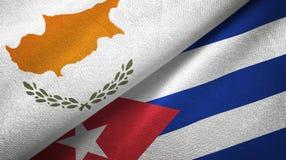 Tissu de textile de drapeaux de la Chypre et du Cuba deux, texture de tissu illustration libre de droits