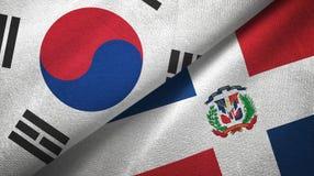 Tissu de textile de drapeaux de la Corée du Sud et de la République Dominicaine deux, texture de tissu illustration de vecteur
