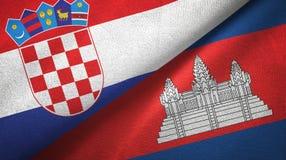 Tissu de textile de drapeaux de la Croatie et du Cambodge deux, texture de tissu illustration stock