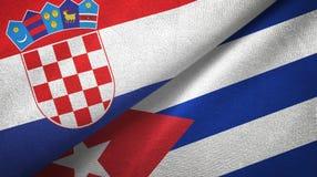 Tissu de textile de drapeaux de la Croatie et du Cuba deux, texture de tissu illustration libre de droits