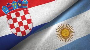 Tissu de textile de drapeaux de la Croatie et de l'Argentine deux, texture de tissu illustration libre de droits