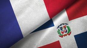 Tissu de textile de drapeaux de la France et de la République Dominicaine deux, texture de tissu illustration libre de droits