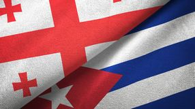Tissu de textile de drapeaux de la Géorgie et du Cuba deux, texture de tissu illustration de vecteur
