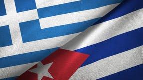 Tissu de textile de drapeaux de la Grèce et du Cuba deux, texture de tissu illustration libre de droits