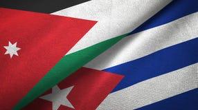 Tissu de textile de drapeaux de la Jordanie et du Cuba deux, texture de tissu illustration de vecteur