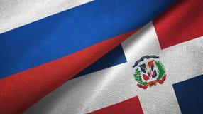 Tissu de textile de drapeaux de la Russie et de la République Dominicaine deux, texture de tissu illustration de vecteur