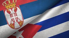 Tissu de textile de drapeaux de la Serbie et du Cuba deux, texture de tissu illustration stock