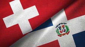 Tissu de textile de drapeaux de la Suisse et de la République Dominicaine deux, texture de tissu illustration libre de droits