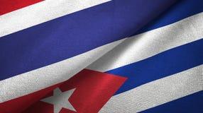 Tissu de textile de drapeaux de la Thaïlande et du Cuba deux, texture de tissu illustration libre de droits