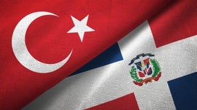 Tissu de textile de drapeaux de la Turquie et de la République Dominicaine deux, texture de tissu illustration libre de droits