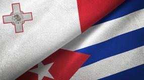 Tissu de textile de drapeaux de Malte et du Cuba deux, texture de tissu illustration libre de droits