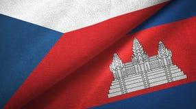Tissu de textile de drapeaux de République Tchèque et du Cambodge deux, texture de tissu illustration stock