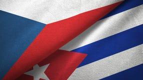 Tissu de textile de drapeaux de République Tchèque et du Cuba deux, texture de tissu illustration de vecteur