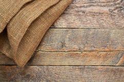 Tissu de toile de jute et abrégé sur texture en bois Images stock