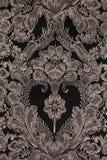Tissu de vintage de Brown avec le modèle de damassé comme fond Image stock