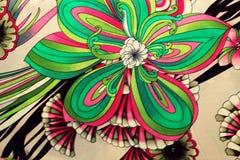 Tissu en soie avec le modèle de fleur Photos libres de droits