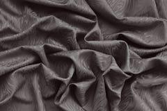 Tissu en soie de damassé de Brown avec le profil onduleux Photo libre de droits