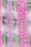 Tissu en soie rose et vert piqué peint à la main Images libres de droits