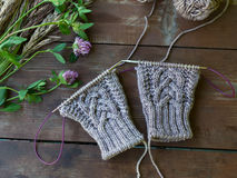 Tissu et aiguilles tricotés de laine sur la table en bois Photographie stock libre de droits