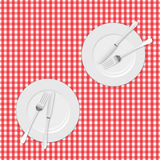 Tissu et plats de pique-nique Image stock