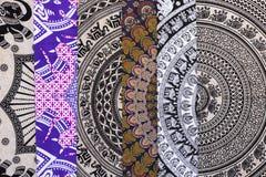 Tissu ethnique à vendre sur un marché espagnol Photo libre de droits