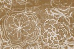 Tissu floral de Brown Photographie stock