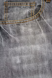 Tissu gris de jeans avec la poche Photo stock