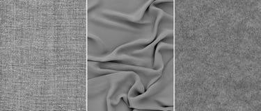 Tissu gris réglé Photos stock