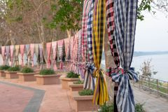 Tissu rayé multicolore images stock