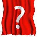 Tissu rouge avec le point d'interrogation Photo libre de droits