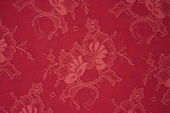 Tissu rouge de lacet de texture Images stock