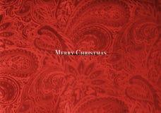Tissu rouge de velours avec un design de carte de luxe de Noël de modèle floral élégant de vintage photographie stock