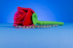 Tissu rouge simple Rose Photos stock