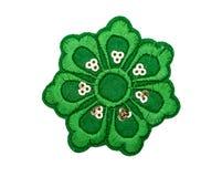 Tissue applique green flower. Isolate on white Stock Image