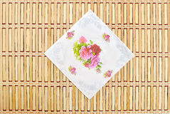 Tissue on bamboo mat Stock Image